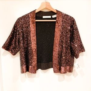 Neiman Marcus 100% Cashmere All Over Sequin Shrug